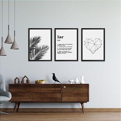 Conjunto de 3 Quadros Decorativos – Definição – Lar – Palmeiras e Coração Geométrico