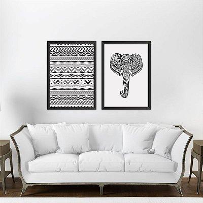 Conjunto de 2 Quadros Decorativos - Textura Preto e Branco | Elefante