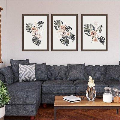Conjunto de 3 Quadros Decorativos – Arranjo Rosas e Costela de Adão