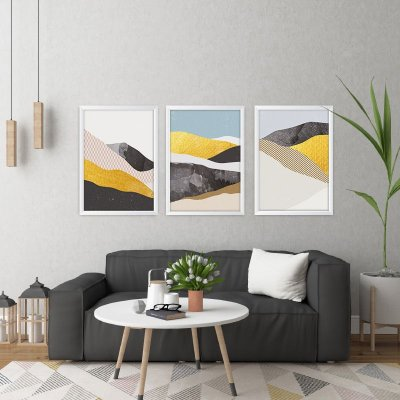Conjunto de 3 Quadros Decorativos – Montanhas Geométricas
