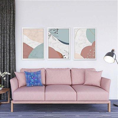 Conjunto de 3 Quadros Decorativos – Mármore Abstrato