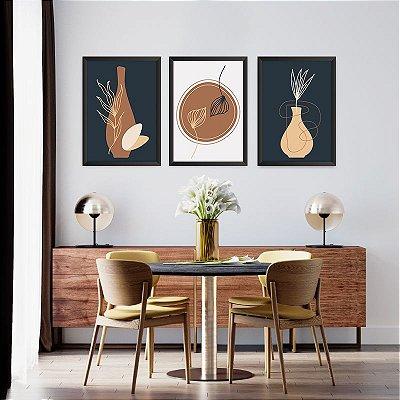 Conjunto de 3 Quadros Decorativos – Vasos lineares