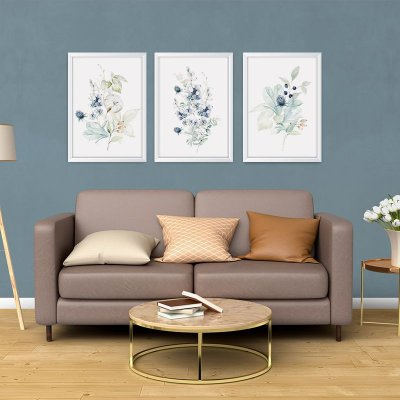 Conjunto de 3 Quadros Decorativos – Arranjo Flores Azuis