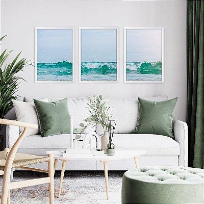 Conjunto de 3 Quadros Decorativos – Mar e Horizonte