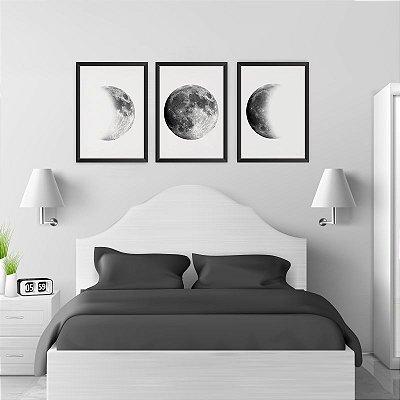 Conjunto de 3 Quadros Decorativos – Fases da Lua