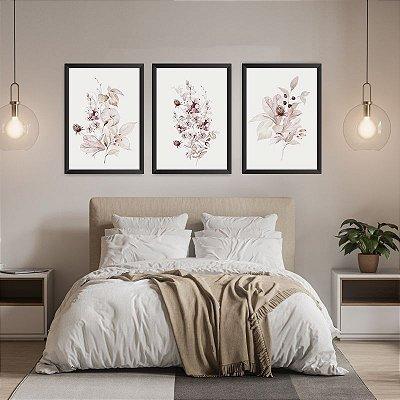 Conjunto de 3 Quadros Decorativos – Flores Tons Pasteis
