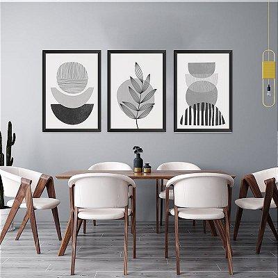 Conjunto de 3 Quadros Decorativos – Abstrato Preto e Branco