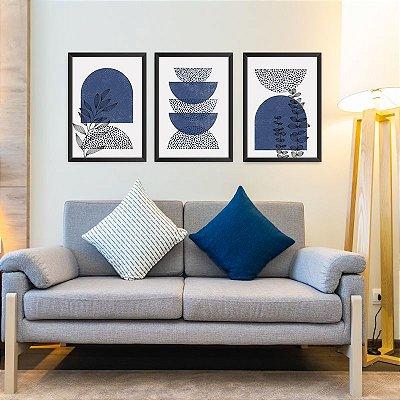 Conjunto de 3 Quadros Decorativos – Abstrato Azul e Preto | Floral