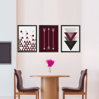 Conjunto de 3 Quadros Decorativos – Geométricos – Vinho