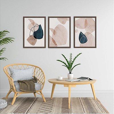 Conjunto de 3 Quadros Decorativos – Circulos e Linhas