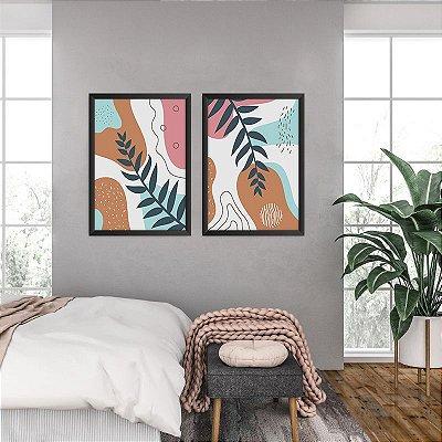 Conjunto de 2 Quadros Decorativos – Geometrico Colorido | Galhos
