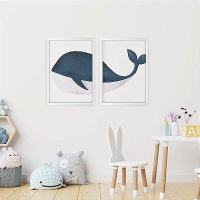 Conjunto de 2 Quadros Decorativos – Baleia Azul