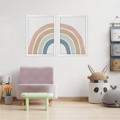 Conjunto de 2 Quadros Decorativos – Arco-Íris