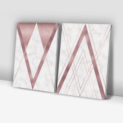 Conjunto de 2 Quadros Decorativos – Mármore Geométrico – Rosê