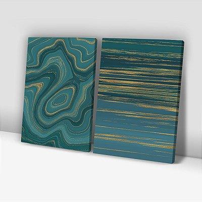 Conjunto de 2 Quadros Decorativos – Mármore Verde e Dourado