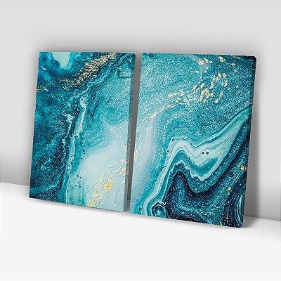 Conjunto de 2 Quadros Decorativos – Tons de Azul e Dourado