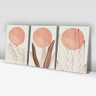 Conjunto de 3 Quadros Decorativos – Outono Rose Gold