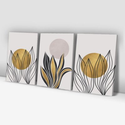Conjunto de 3 Quadros Decorativos – Folhagem em Linhas – Bege e Dourado