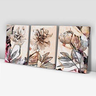 Conjunto de 3 Quadros Decorativos – Pintura Flores Douradas