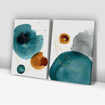 Conjunto de 2 Quadros Decorativos – Abstrato Aquarela Verde e Dourado