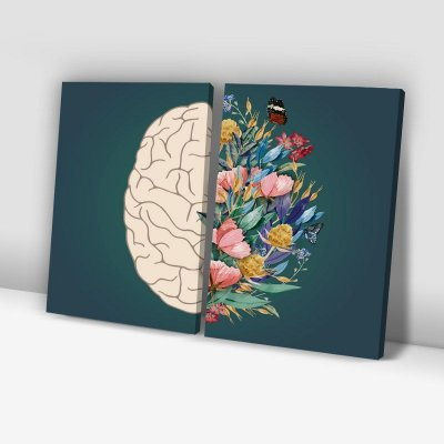 Conjunto de 2 Quadros Decorativos – Cérebro Floral