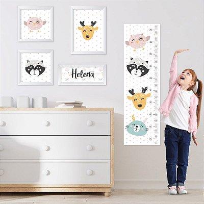 Conjunto de 4 quadros Infantil - Guaxinim, Alce e Corura - Nome Personalizado