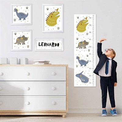 Conjunto de 4 quadros Infantil - Dinossauros - Menino - Nome Personalizado