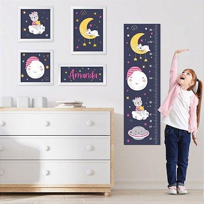Conjunto de 4 quadros Infantil - Céu Estrelado - Urso Menina - Nome Personalizado