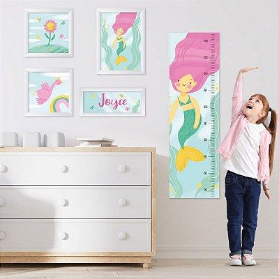Conjunto de 4 quadros Infantil – Sereia – Arco-Íris - Nome Personalizado
