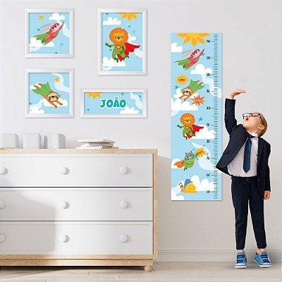 Conjunto de 4 quadros Infantil – Animais Heróis - Nome Personalizado