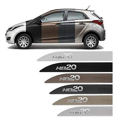Jogo Friso Lateral Hyundai Hb20 Escrita Alto Cromada