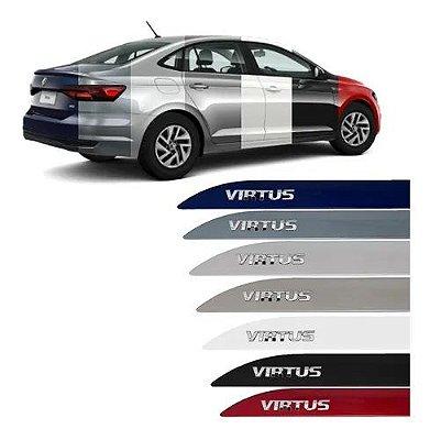 Jogo Friso Lateral Volkswagen Virtus Escrita Alto Cromada Prata Sirius