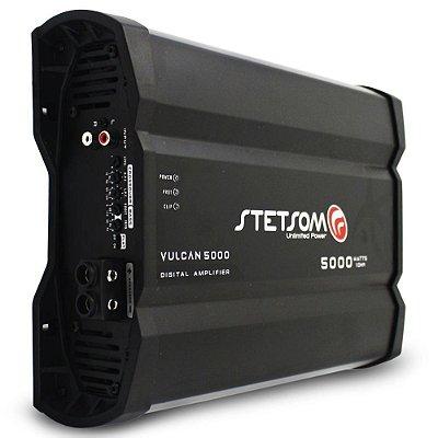 Módulo Amplificador Digital Stetsom Vulcan 5000W RMS 1 Ohm RCA 1 Canal Som Automotivo