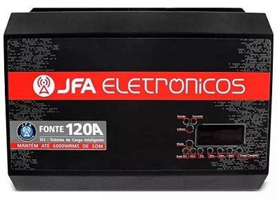FONTE E CARREGADOR DE BATERIA JFA 120A SLIM BIVOLT VOLTÍMETRO DIGITAL SOM