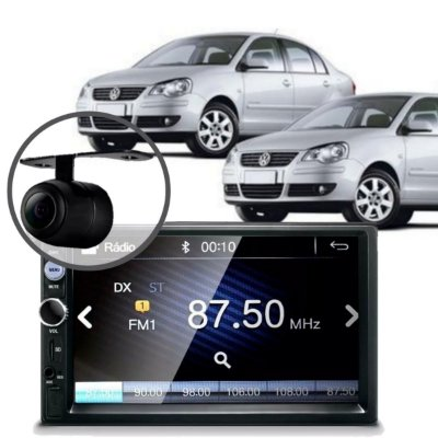 CENTRAL MULTIMÍDIA MP5 POLO HATCH 2006 CÂMERA BLUETOOTH ESPELHAMENTO