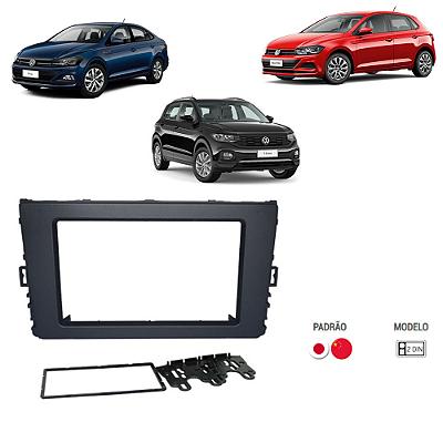 CONTRA FRENTE MOLDURA VW T-CROS S/ NOVO POLO / VIRTUS 18/19 PRETO FOSCO - 2 DIN