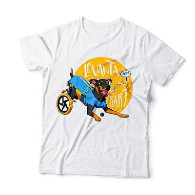 """Camiseta Masculina """"Levanta Bart"""" Amarela"""