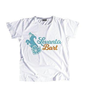 "Camiseta Feminina Baby Look ""Levanta Bart"" Azul"