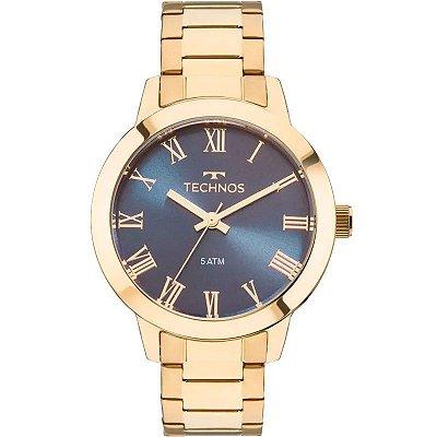 Relógio Feminino Analógico Technos Dourado com Azul em Aço