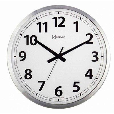 Relógio De Parede Herweg Analógico Alumínio Escovado 6712079