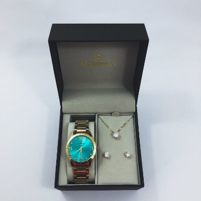 Relógio Feminino Champion com Colar e Brincos Mod: CN26055V