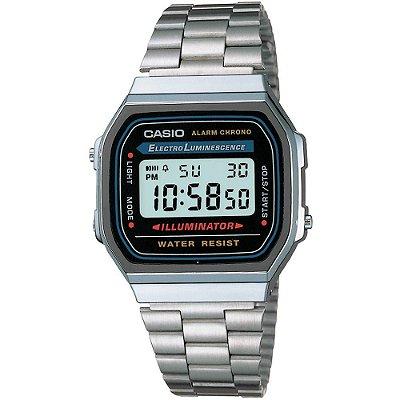 Relógio Unissex Casio Digital em Aço Inoxidável A168WA-1WDF