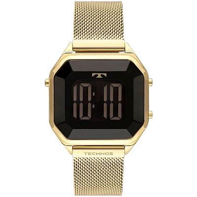 Relógio Feminino Digital  Dourado Technos Crystal BJ3851AJ4P