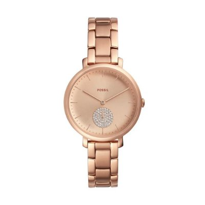 Relógio Feminino Fóssil Slim Analógico Rosa Strass ES44381JN