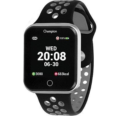 Relógio Inteligente Smartwatch Champion Unissex Preto e Cinza