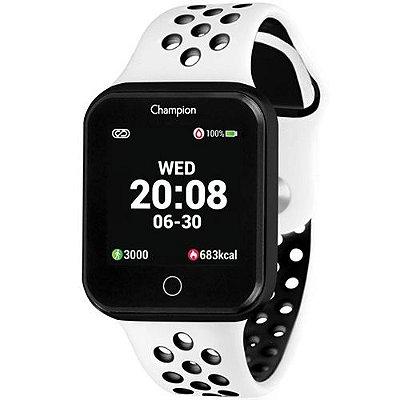Relógio Inteligente Smartwatch Champion Unissex Branco Preto