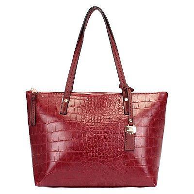 Bolsa Feminina Shopping Bag Vinho com Textura Croco