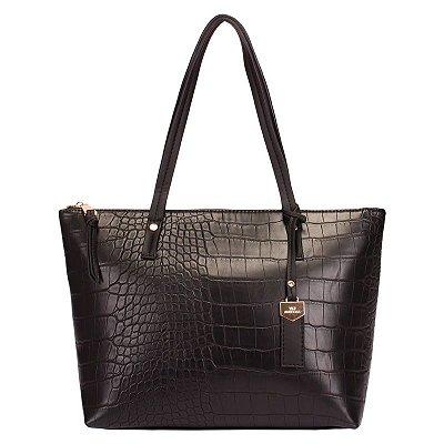 Bolsa Feminina Shopping Bag Preto com Textura Croco