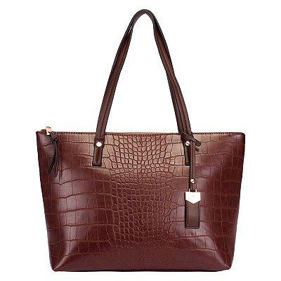 Bolsa Feminina Shopping Bag Café com Textura Croco