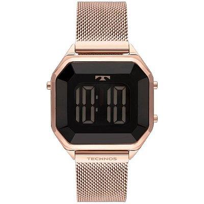 Relógio Feminino Technos Digital Rosé Quadrado BJ3851AK4P